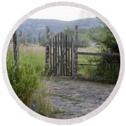 Gate To Peaceful Paradise Round Beach Towel