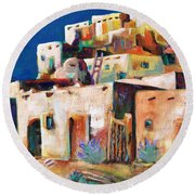 Gateway Into  The  Pueblo Round Beach Towel