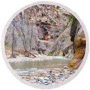 Gateway To The Zion Narrows Round Beach Towel