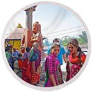 Gathering At Hindu Festival Of Ram Nawami In Kathmandu-nepal Round Beach Towel