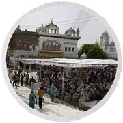 Gathering Inside The Golden Temple In Amritsar Round Beach Towel