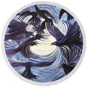 Gathering Of The Ravens Round Beach Towel