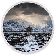 Gathering Winter Storm - Utah Valley Round Beach Towel