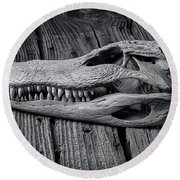 Gator Black And White Round Beach Towel