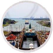 Gatun Locks Panama Canal Round Beach Towel