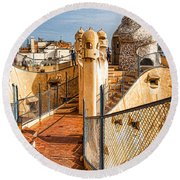 Gaudi Fascinating La Pedrera Rooftop - Impressions Of Barcelona Round Beach Towel