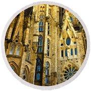 Gaudi - Sagrada Familia Round Beach Towel
