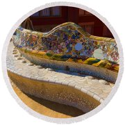 Gaudi's Park Guell Sinuous Curves - Impressions Of Barcelona Round Beach Towel