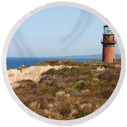Gay Head Lighthouse Round Beach Towel