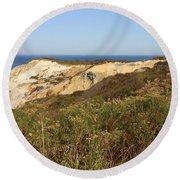 Gay Head Lighthouse With Aquinnah Beach Cliffs Round Beach Towel