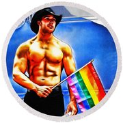 Gay Pride Round Beach Towel