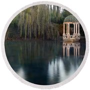 Gazebo And Lake Round Beach Towel