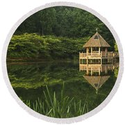 Gazebo Reflections Round Beach Towel
