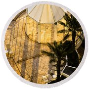 Gazebo Shadow Lines Round Beach Towel