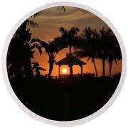Gazebo Silhouette Round Beach Towel