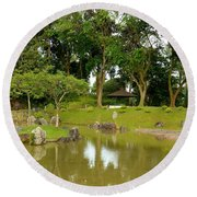 Gazebo Trees Lake And Rock Garden In Singapore Chinese Gardens Round Beach Towel