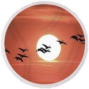 Geese Against The Sun Round Beach Towel