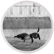 Geese By The Ohio Round Beach Towel