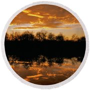 Geese Fly In The Sunset Round Beach Towel