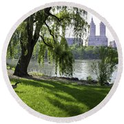 Geese In Central Park Nyc Round Beach Towel