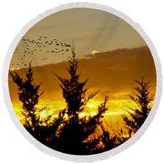 Geese In Golden Sunset Round Beach Towel