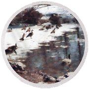 Geese On An Icy Pond Round Beach Towel