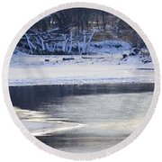 Geese On Ice Round Beach Towel