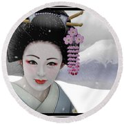 Geisha In Snow On Mt. Fuji Round Beach Towel