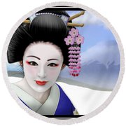 Geisha On Mount Fuji Round Beach Towel