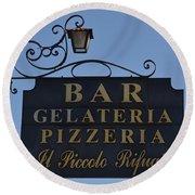 Gelateria Pizzeria Round Beach Towel