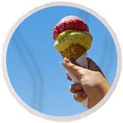 Gelati Ice Cream Cone Round Beach Towel