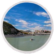 Gellert Hill And Danuber River In Budapest Round Beach Towel by Michal Bednarek