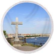 Gellert Hill Cross In Budapest Round Beach Towel