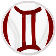 Gemini And Root Chakra Abstract Spiritual Artwork By Omaste Witk Round Beach Towel