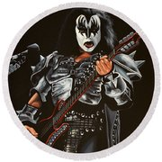 Gene Simmons Of Kiss Round Beach Towel