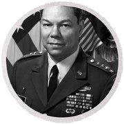 General Colin Powell Round Beach Towel by War Is Hell Store
