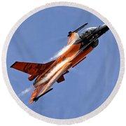 General Dynamics F-16am Fighting Falcon Round Beach Towel