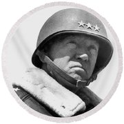 General George Patton Round Beach Towel by War Is Hell Store