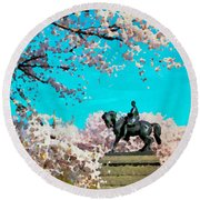 General In The Blossoms Round Beach Towel