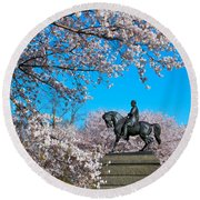 General In The Cherry Blossoms Round Beach Towel