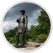 General K Warren Monument Gettysburg Round Beach Towel by James Brunker