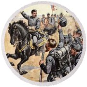 General Mcclellan At The Battle Round Beach Towel by Henry Alexander Ogden