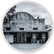 General Store In Independence Texas Bw Round Beach Towel