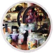 General Store With Candy Jars Round Beach Towel