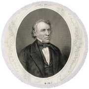 General Zachary Taylor, From The History Of The United States, Vol. II, By Charles Mackay, Engraved Round Beach Towel