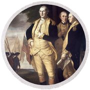 Generals At Yorktown, 1781 Round Beach Towel