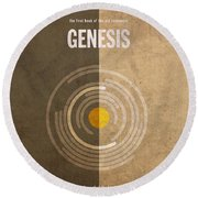Genesis Books Of The Bible Series Old Testament Minimal Poster Art Number 1 Round Beach Towel