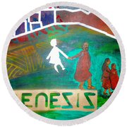 Genesis  By Janelle Dey Round Beach Towel