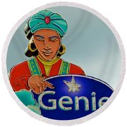 Genie Neon Sign Round Beach Towel