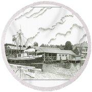 Genius Ready To Fish Gig Harbor Round Beach Towel by Jack Pumphrey
